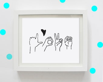 LOVE in Sign Language, Digital Print