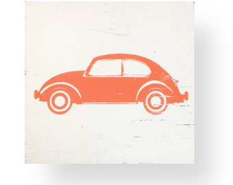 The Iconic Volkswagen Beetle VW Bug Rustic Sign