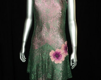 1920's Green Lace Dress Pink Slip Featuring various Pink Sequin Floral Appliques Art Deco, Flapper, Party Dress, Layered Skirt
