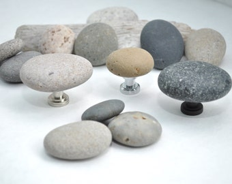 Made to Order -  Beach and River Rock Cabinet Knobs Pulls