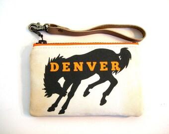 Denver Football Stadium Wristlet NFL Regulation Bag Broncos READY To SHIP