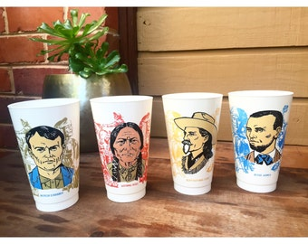 Vintage 7-Eleven Wild West Cups (Set of 4)