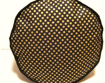 Metallic Gold Dots Pouffe Footrest Foot Stool Floor Cushion Pouff Decorative Cushion Furniture Black Corduroy