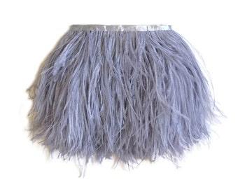 Grey Ostrich Feathers, 1 Yard - GREY Ostrich Fringe Trim feather : 2114