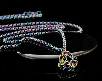 Rainbow Niobium Celtic Labyrinth Chainmaille Necklace - Ready Made or Kit