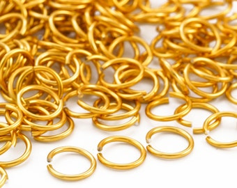 """100 - 14 gauge Midas Touch Gold Anodized Aluminum Jump Rings-  10mm ID - 13.2mm OD - 3/8"""""""