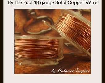 By the Foot 18 gauge Copper Wire - Solid Raw Metal - Dead Soft -  100% Guarantee