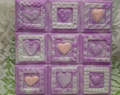 1 Bar Purple Lavender Soap, CRAZY HEART SOAP, Gift for Her, Mother, Teen,  Quilt Soap, Lavender Soap, Glycerin, Purple and White Soap