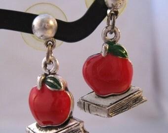 BIGGEST SALE of the Year School Teacher Red Apple & Book Enamel Pierced Earrings Vintage Costume Jewelry Jewellery