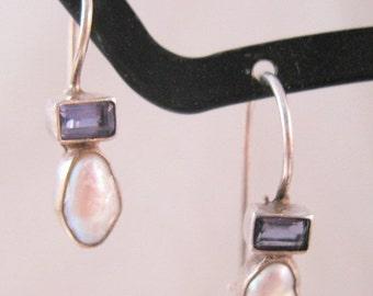 BIGGEST SALE of the Year Vintage Edwardian Style Amethyst & Pearl Sterling Silver Drop Dangle Earrings Pierced Signed SI Jewelry Jewellery