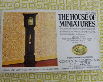 Vintage Dollhouse Grandfather clock kit, House of Miniatures