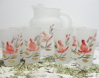Vintage hand painted pitcher and tumbler set Rosebud