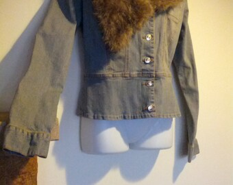 Vintage 90s Brown Faux Fur Fitted Jean Jacket Coat Size Small