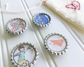 boy theme / magnets set of 4 / paper airplane / rocket / boy