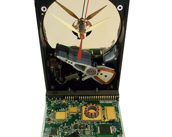 FREE SHIPPING! Hard Drive Clock with Controller Circuit Board Accenting the Base. Need Office Gift?