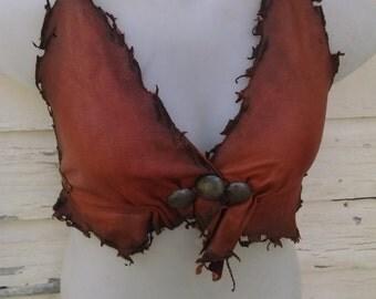 Henna Leather Halter Bra -- burning man wasteland weekend tribal fusion belly dance amazon larp amazon costume