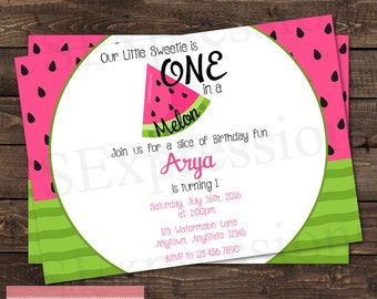 One in a Melon Pink and Green Watermelon Birthday Party Invitation