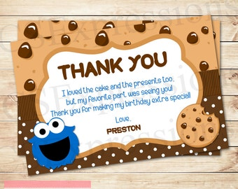 Little Blue Monster Birthday Thank You Card
