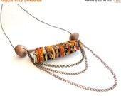 LetsPartySale Statement modern tribal necklace, long fiber tribal modern necklace, urban tribal modern necklace