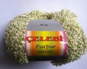 Celebi Purpur #32 Baby Yellow, Gold Twin Ringlet Ribbon Yarn 50 gram 124 yards