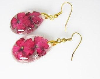 Pink Verbena Earrings, Pressed Flower Jewelry, Real Flowers Jewelry, Resin, (1710)