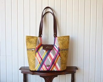 Mimosa Market Tote in Jennifer Sampou Plaid in Bright with Coordinates in Mustard