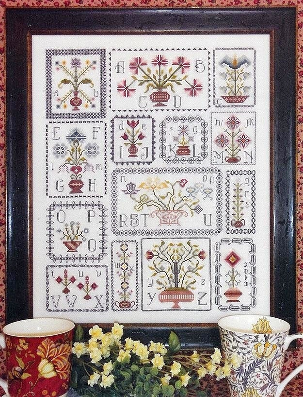 pots of flowers sampler cross stitch pattern by rosewood
