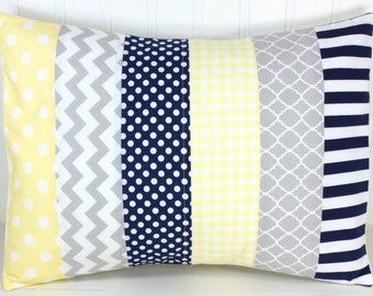 Pillow Cover, Baby Boy Nursery Decor, Patchwork Pillow Cover, Crib Bedding, 12 x 16 Inches, Navy Blue, Gray, Grey, Baby Yellow, Light Yellow