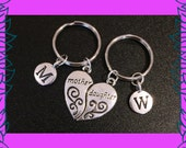 Mother daughter keychains, mother daughter gift, set of 2 personalised mum daughter keychains, custom initial mom girl keyrings, gift UK