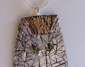 MOSAIC Cat Art,  Gold and Silver Pendant Necklace, Polymer Clay.