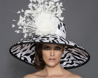 Black and white Zebra print Derby hat, Ketucky Derby Hat , Black and white derby Hat