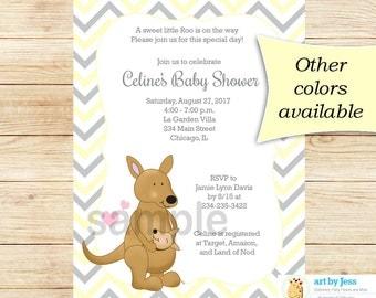 Kangaroo Gender Neutral Baby Shower Invitation | Yellow and Gray Chevron | Printable Baby Shower Invitation bs-088