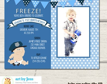 Police Officer Baby Cop Photo Birthday Party Invitation / Police Party Any age Birthday DIY invitation / Printed options available