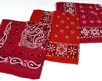 Lot of 3 Red Rockabilly Southwest Collectible Vintage Fast Color Bandanas - #B38