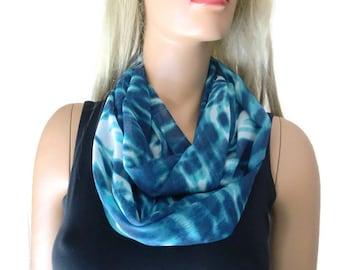 Ocean colors/Bermuda blue  infinity scarf - chiffon floral Scarf Cowl, loop circle scarf-Instant gratification...