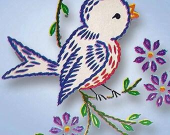 1960s Vintage Vogart Embroidery Transfer 249 Orchids & Bluebird Pillowcases ORIGINAL