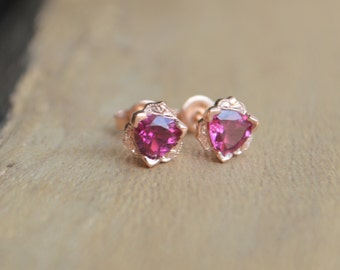 Gatsby Studs for 5mm Trillion Stones, Rose Gold with Pink Tourmaline