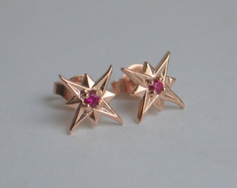 Rose Gold Holiday Star Studs with Rubies