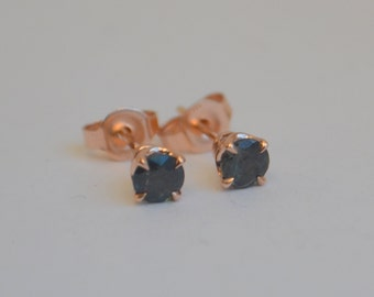 Rose Gold Garnet Studs, color change garnets, garnet studs, garnet earrings, gemstone earrings, antique earrings, scroll studs, antique stud