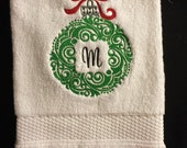 Ornament Monogrammed Initial Towel for kitchen or bath