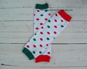 Christmas Baby Leg Warmers Red and Green Polka Dot Baby Girl Toddler