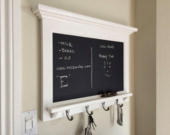 Horizontal Chalkboard Organizer Shelf - Wood  Framed Furniture Key Hook Organizer for your Kitchen, Office, or Entryway Chalk Board