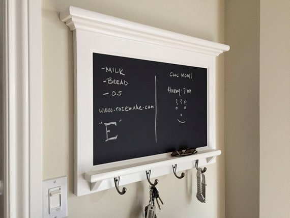 Horizontal Chalkboard Organizer Shelf Wood Framed Furniture