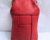 Vintage NOS Red Pebbled Genuine Leather Cigarette Case With Lighter Pocket