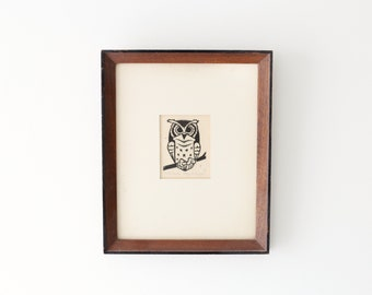 Vintage Framed Owl Ink Drawing