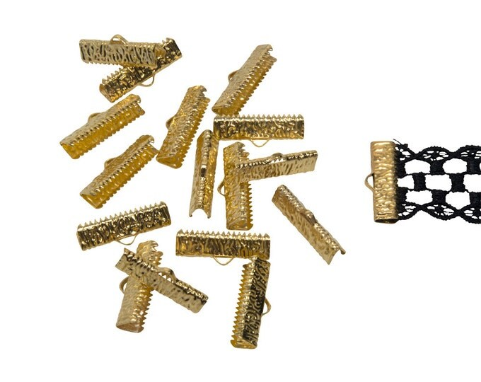 150 pcs.  22mm  (7/8 inch) Gold Ribbon Clamp End Crimps - Artisan Series