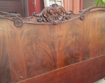 Headboard Full Size Bed Ornate Style Vintage Paris Apartment Poppy Cottage Painted Furniture PAINT to ORDER Shabby Cottage White