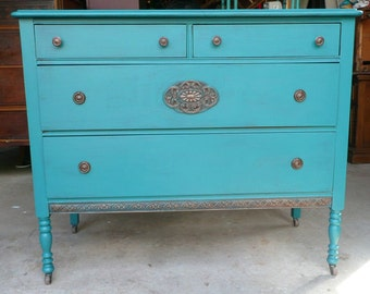 DRESSER Chest of Drawers Vintage Poppy Cottage PAINT to ORDER Painted Furniture