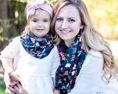 Baby Scarf, Infinity Scarf, Scarf, Scarves, Womens Scarves, Shawl, Cowl, Scarves For Women, Floral - Rifle Paper Co - Birch Floral In Navy