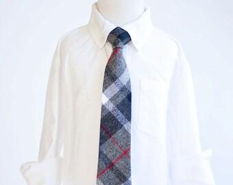 Necktie, Neckties, Boys Tie, Baby Tie, Boys Necktie, Plaid, Wedding Ties, Ties, Plaid Tie, Ring Bearer, Tie - Grey, Black, And Red Plaid